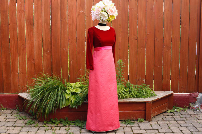 s.a.l.e. Vintage 1960s Mod Velvet Maxi Dress -  Red & Hot Pink Long Sleeve Holiday  Party Dress - XS by SecondShiftVintage