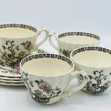 Vintage (4) Sets Myott Staffordshire DYNASTY Swirled Indian Tree Tea Cups and Saucers England- Nice Condition by JoAnntiques