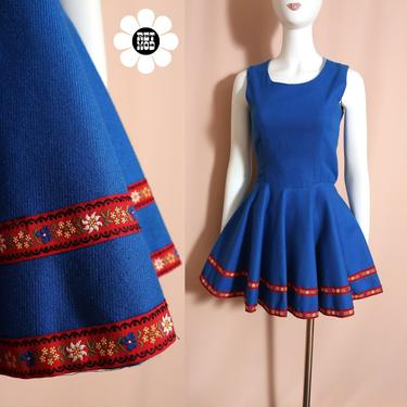 Sweet Vintage 60s 70s Blue German Style Mini Dress with Red Floral Trim by RETMOD