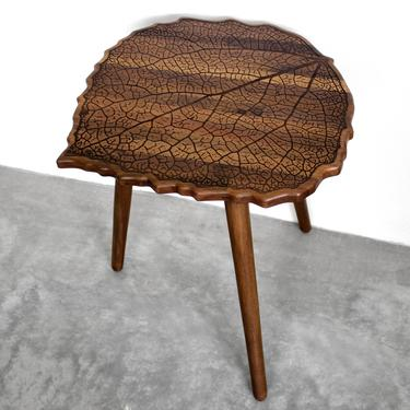 Engraved Walnut Hardwood LEAF with Turned Wood Legs - End / Side Table or Night Stand - Modern Mid Century Boho Furniture Design Eames by portrhombus