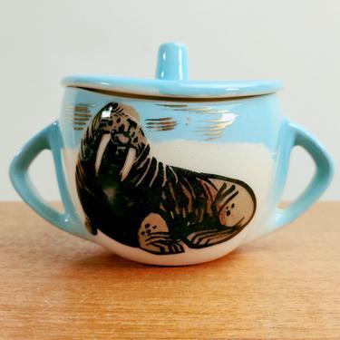 Vintage Matthew Adams Pottery | Alaska | Covered Sugar | Walrus | 1950s by TheFeatheredCurator