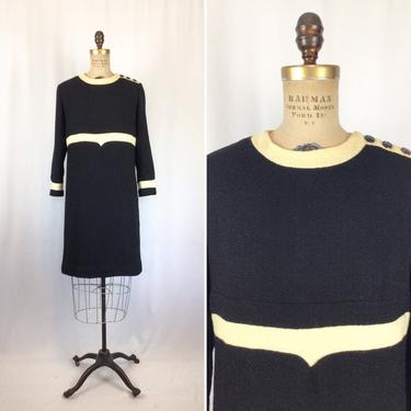 Vintage 60s dress | Vintage black cream wool boucle dress | 1960s Louis Feraud dress by BeeandMason
