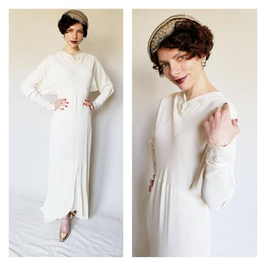 1930s Long Sleeved Wedding Dress in Ivory Silk Bias Cut / 30s Bridal Gown with Fishtail Skirt and Sequins Art Deco Old Hollywood / Med by RareJuleVintage