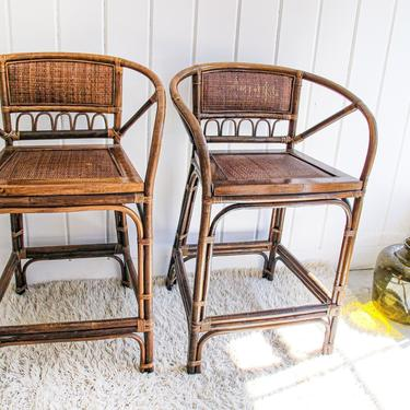 Set of 2 Bamboo and Rattan Bar Stools by PortlandRevibe