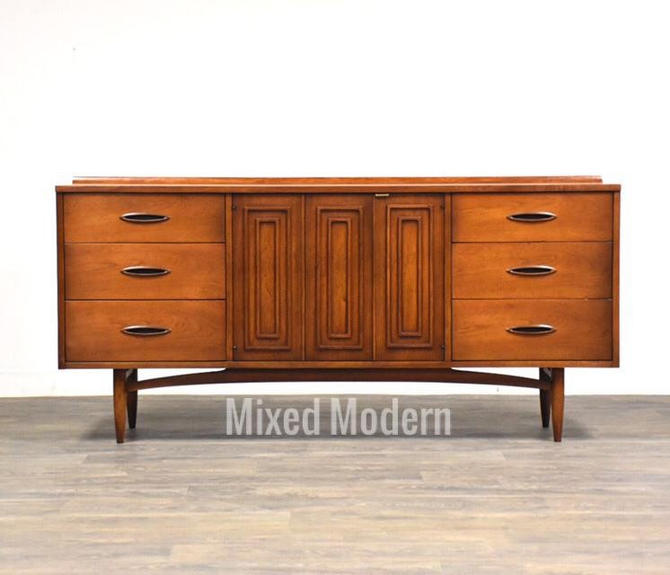 Broyhill Sculptra Walnut Long Dresser by mixedmodern1