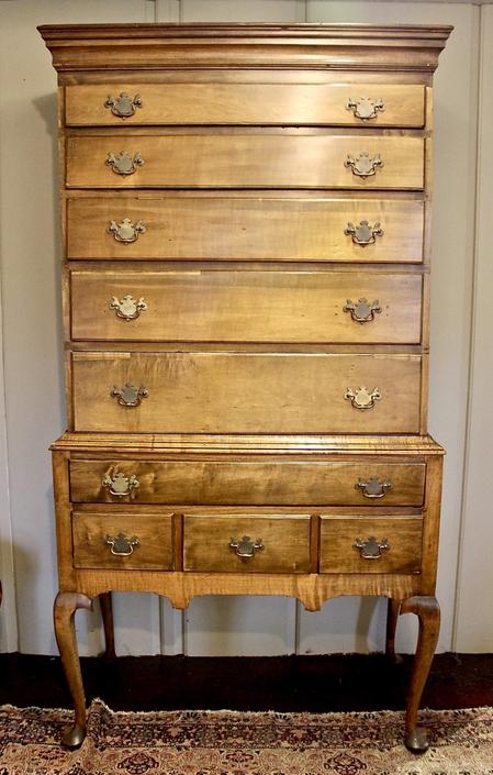 New Arrival ~ Queen Anne Flat-Top Highboy in Maple, 18th Century