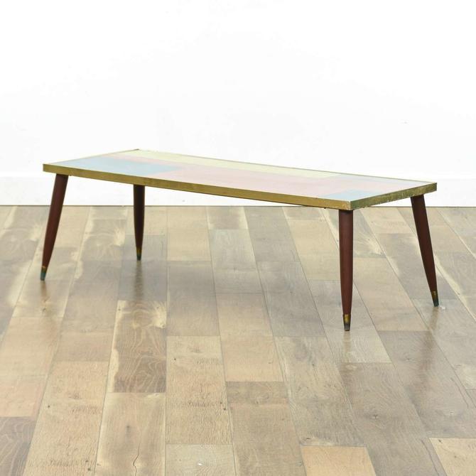 Mid Century Modern Coffee Table W Custom Top & Glass