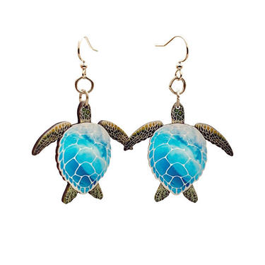 Blue Sea Turtles #T159- Laser Cut Wood Earrnings - from Sustainable Resources by GreenTreeJewelry