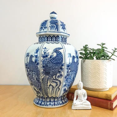 Large Octagonal Japanese Ginger Jar, Vintage Andrea by Sadek Made in Japan, Blue and White Chinoiserie with Phoenix and Peony Motifs by ArchiveHomeVintage