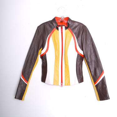 Vintage 1990s Danier Leather Racing Jacket (Small) by 40KorLess