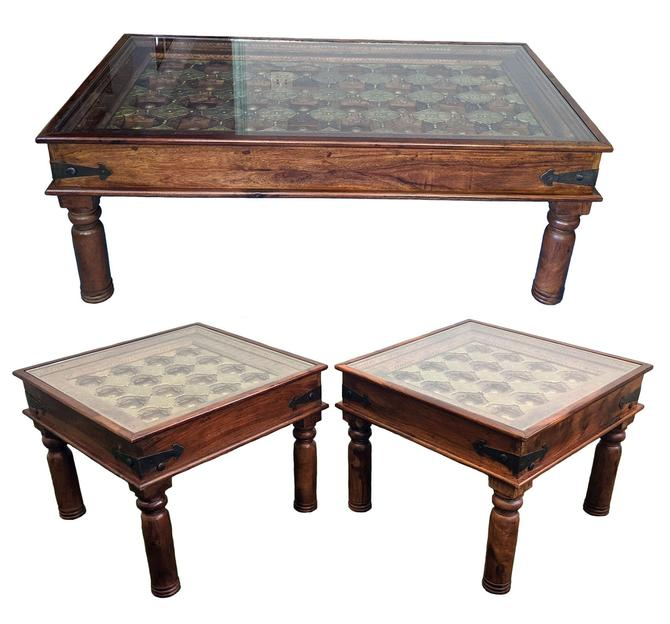 3 Pc Set of Antique Haveli Palace Door Coffee + Side Tables - Brass & Solid Teak Wood w Glass Top by TradingTraveler
