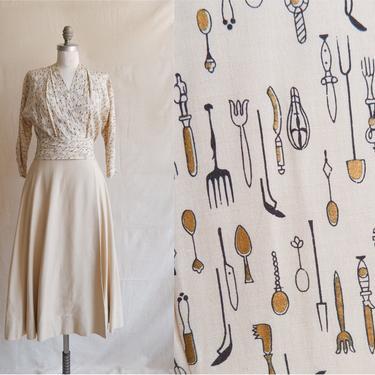 Vintage 50s Utensil Print Wrap Dress/ 1950s Screen Printed Silk and Herringbone Dress/Novelty Print/ Size Small 26 by bottleofbread