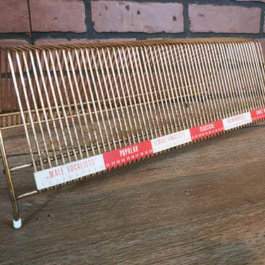 Mid Century MCM Brass Wire Record Holder by RedsRustyRelics