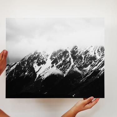 Moody Mountains, Kenai Peninsula, Mountains and Fog, Mountain Print, Alaskan Mountains, Cooper Landing, Alaska, Simple Mountain Photograph by cedargrey