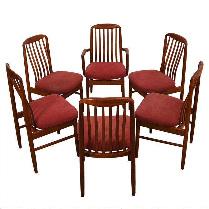 Bow Window Curved Window Seating Narrow Tall Fixed: Set Of 6 Danish Modern Teak Curved Slat-back Dining Chairs