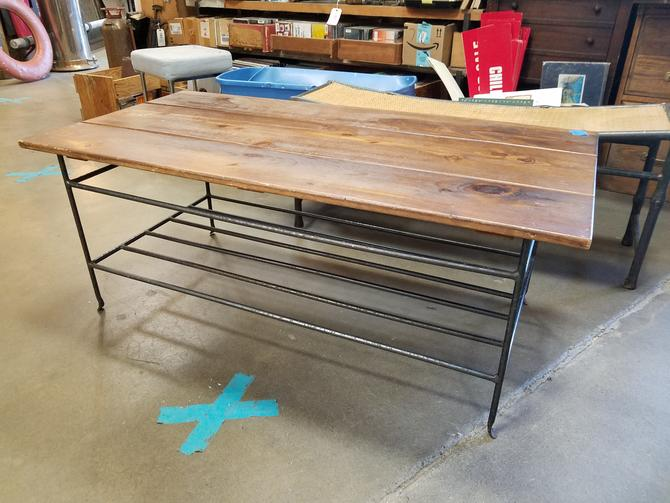 Wrought Iron and Pine Coffee Table