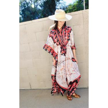 Indian Silk Dress // vintage India boho hippie maxi 70s caftan kaftan high waist hippy // O/S by FenixVintage