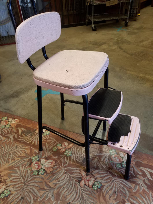 Vintage COSCO Pink & Black Step Stool/Chair