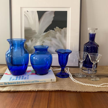 Blue colored glass vases by FrankiesVintageTrunk