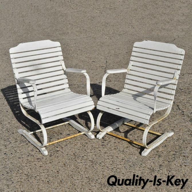 Pair Vtg French Country Wrought Iron and Wood Slat Bouncer Garden Lounge Chairs