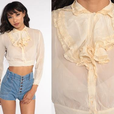 Antique Blouse Cream Chiffon Blouse 40s TUXEDO RUFFLE Crop Top Button Up 1940s Victorian Blouse Delicate Dreamy Vintage Shirt Extra Small xs by ShopExile