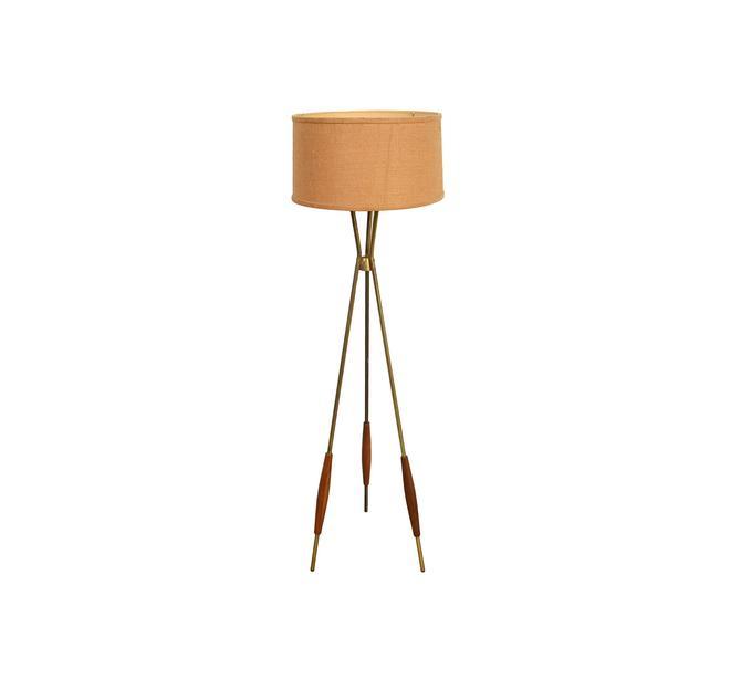 Gerald Thurston for Lightolier Brass & Walnut Tripod Floor Lamp Mid Century Modern by HearthsideHome