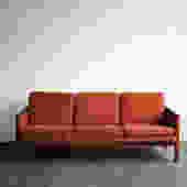 Burnt Orange Mid-Century Sofa with Walnut Frame