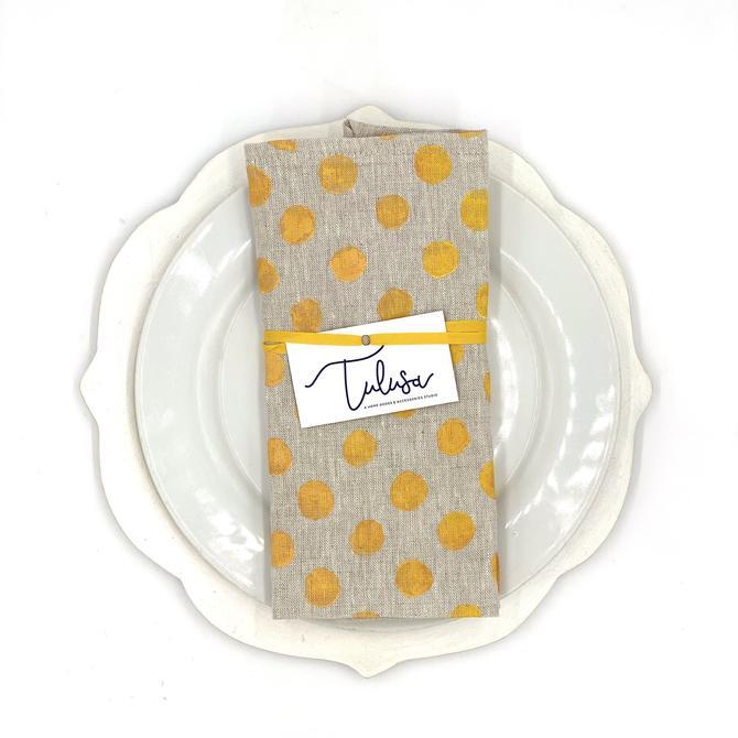 *Linen Napkins in Mango Polka Dots on Oatmeal (set of 2)