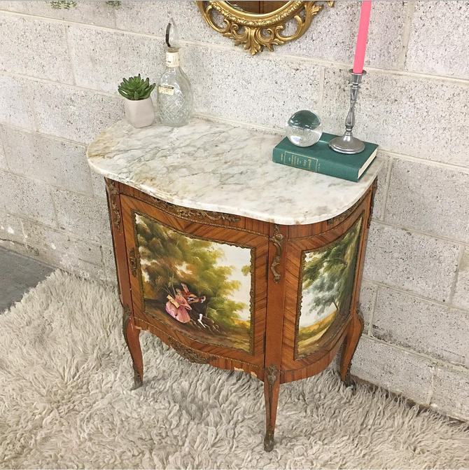 LOCAL PICKUP ONLY —————- Vintage Marble + Wood Table by RetrospectVintage215