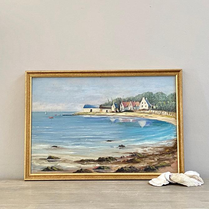 Vintage Irish Seascape Oil Painting Belfast Ireland Coastal Landscape by ModRendition