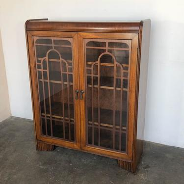 Waterfall Art Deco Display Cabinet with Glass Doors by IridiumInteriors