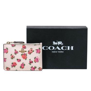 Coach - Cream Floral Leather Mini Wallet