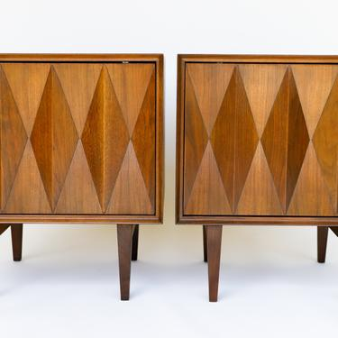 Pair of Albert Parvin Diamond Nightstands