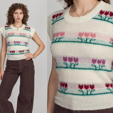 70s Tulip Flower Cap Sleeve Knit Top - Small | Vintage Off-White Girly Sweater Vest Floral Cropped Tank by FlyingAppleVintage