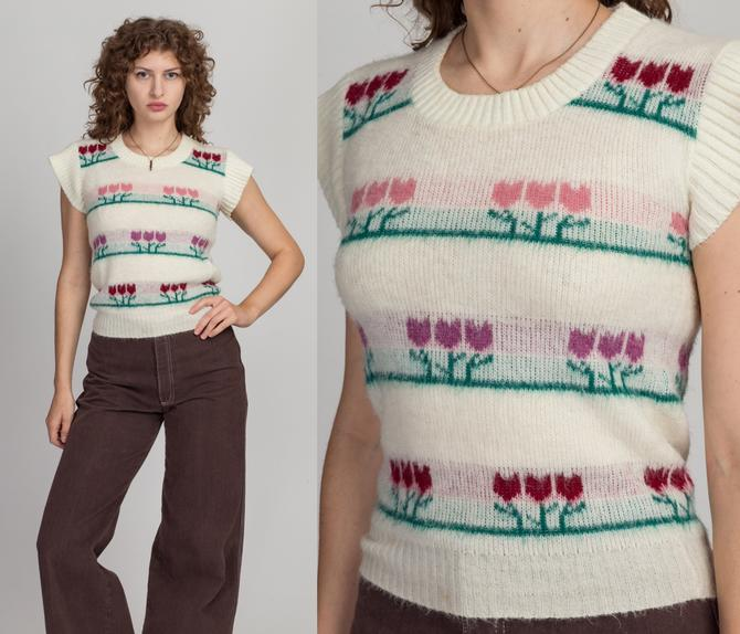 70s Tulip Flower Cap Sleeve Knit Top - Small   Vintage Off-White Girly Sweater Vest Floral Cropped Tank by FlyingAppleVintage