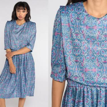 Pleated Secretary Dress 80s Midi Dress Blouson Blue Geometric Dress High Waist Secretary 3/4 Sleeve Dress Vintage Extra Large xl by ShopExile