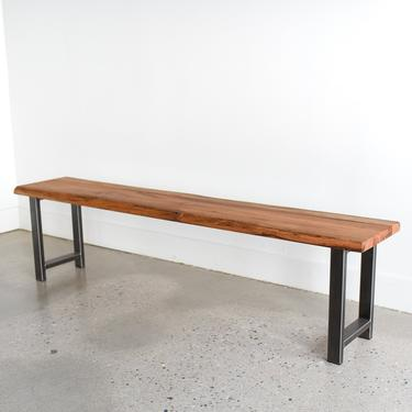 Live Edge Bench made from Reclaimed Wood / H-Shaped Steel Legs by wwmake