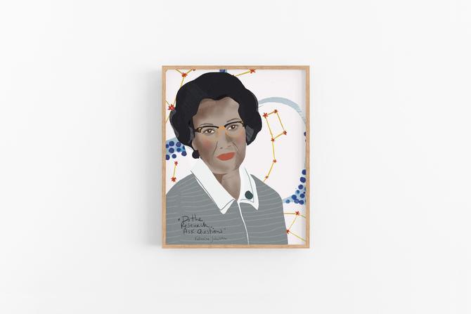 Katherine Johnson Portrait Art Print ready to frame Dorm room decor girl in stem by VioletredStudio