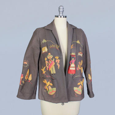 1940s Jacket / 40s Mexican Tourist Jacket / HAND PAINTED / rare by GuermantesVintage