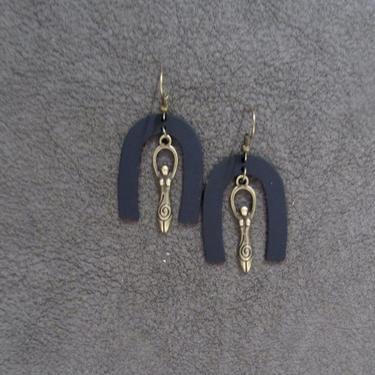 Goddess earrings, African statement earrings, Afrocentric earrings, black tribal earrings, modern brass earrings, boho chic, female figure by Afrocasian