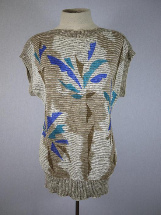 Tan Geometric Palm Summer Sweater by citybone