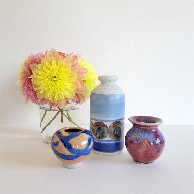 Small Vintage Ceramic Vase Set - Three Bud Vases in Blue by CivilizedCrow