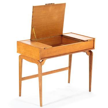 Mid Century Modern Danish Petite Writing Desk in Golden Oak by ABTModern