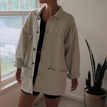 Vintage 90s Off White Cotton Utility Jacket Women's Size L by NeonSkyVintageMN