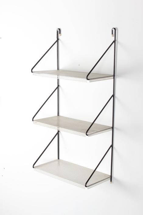 Mid Century Metal Wall Shelf Unit