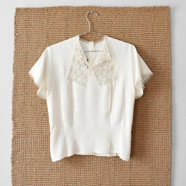 vintage 1940s lace collar blouse, cream short sleeve shirt, size S by ImprovGoods
