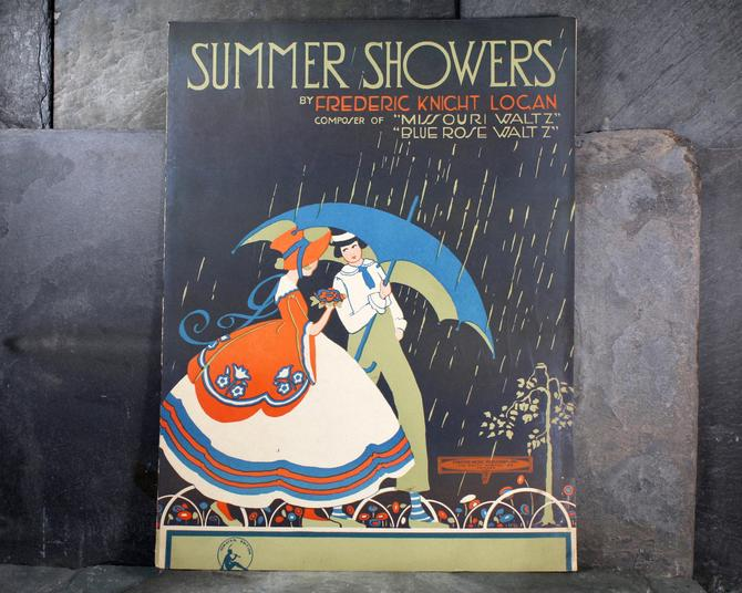 Summer Showers Vintage Sheet Music by Frederic Knight Logan, 1925 Forster Music Publisher, Inc. - Gorgeous Art Deco Design | FREE SHIPPING by Bixley