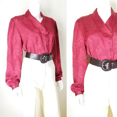Vintage 80s Cranberry Red Blouse ~ Silky Shiny Floral Blouse Top ~ Women's Large ~ Wide Long Sleeve Secretary Blouse Holiday Dress Top Shirt by SoughtClothier