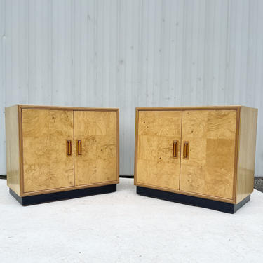 Pair Vintage Modern Burl Cabinets by Henredon by secondhandstory