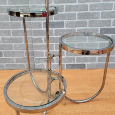 Vintage Mid Century Modern Three Tier Table Floor Lamp Combo
